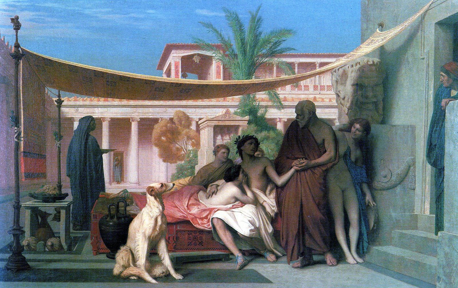Jean-Léon Gérôme (1824-1904) - Sokrati duke kërkuar Alkibiadin në shtëpinë e Aspasia, 1861